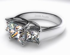 three stone engagement ring, expensive engagement rings, expensive diamond rings, 18K White Gold 3.00 Carat Three Stone Princess Cut Diamond Ring, 3 stone engagement ring