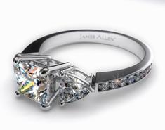 unique diamond engagement rings, Platinum 3-Stone, Pave Set Diamond Engagement Ring, unique diamond rings