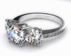 expensive engagement rings, Ladies 18kt White Gold 3-Stone, Pave Set Diamond Engagement Ring, expensive diamond engagement rings