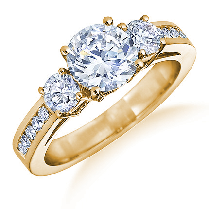 Engagement Rings on 18k Yellow Gold Round Brilliant Diamond Engagement Ring Big12408 Jpg